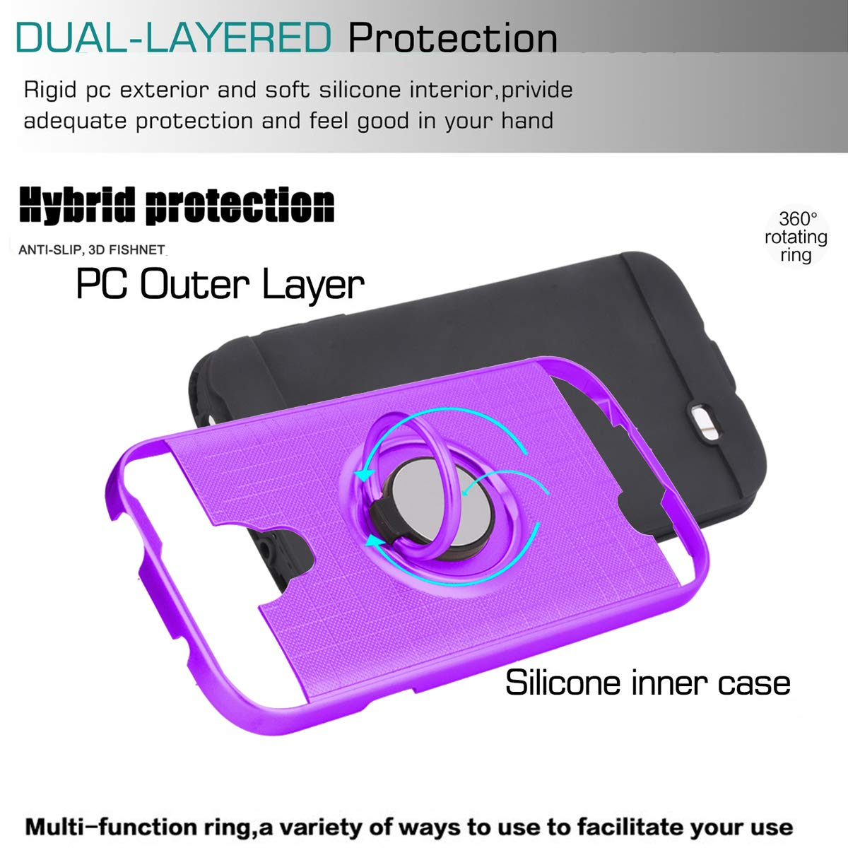 S5 Case,Galaxy S5 Phone Case with HD Screen Protector I9600 -ZH Rose Gold YmhxcY 360 Degree Rotating Ring /& Bracket Dual Layer Shock Bumper Cover for Samsung Galaxy S5