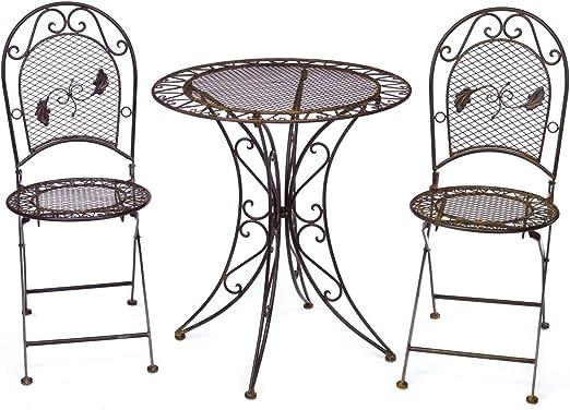 aubaho Mesa de jardín + 2X Hierro Silla de Estilo Muebles Antiguos Muebles de jardín: Amazon.es: Jardín