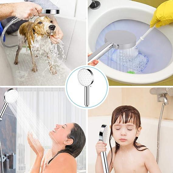 Hauseigen - Alcachofa de ducha, 3 tipos de chorro, ducha de mano de lluvia, gran presión, ahorro de agua, alta presión, cromado, universal, para baño ...