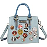 Multi Compartment With Zipper Closure Handbag, Decorated with various Multicolored Buttons