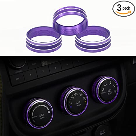 Black Sporthfish 3Pcs Aluminum Alloy Interior Audio Air Condition Twist Switch Ring Control Button Trim Cover for Jeep Wrangler JK JKU Patriot 2011-2018 dodge ram challenger 2008-2014