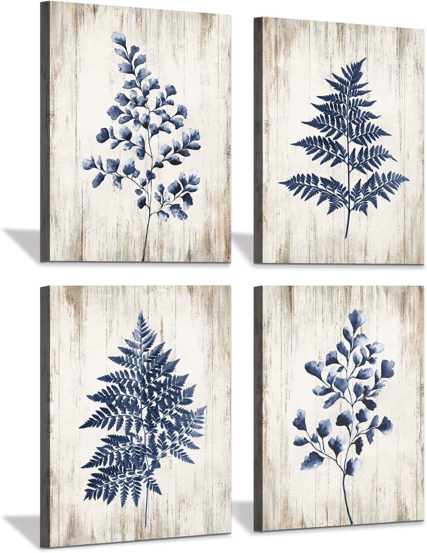 Leaf Wall Art Canvas Prints: Rustic Wood Texture Style Background Botanical Fern Leaf Dark Blue Artwork for Walls Bathroom Bedroom (12 x16 x 4)