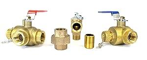 "Tankless Water Heater Flush Kit 3/4"" Lead Free Isolation Service Valves"