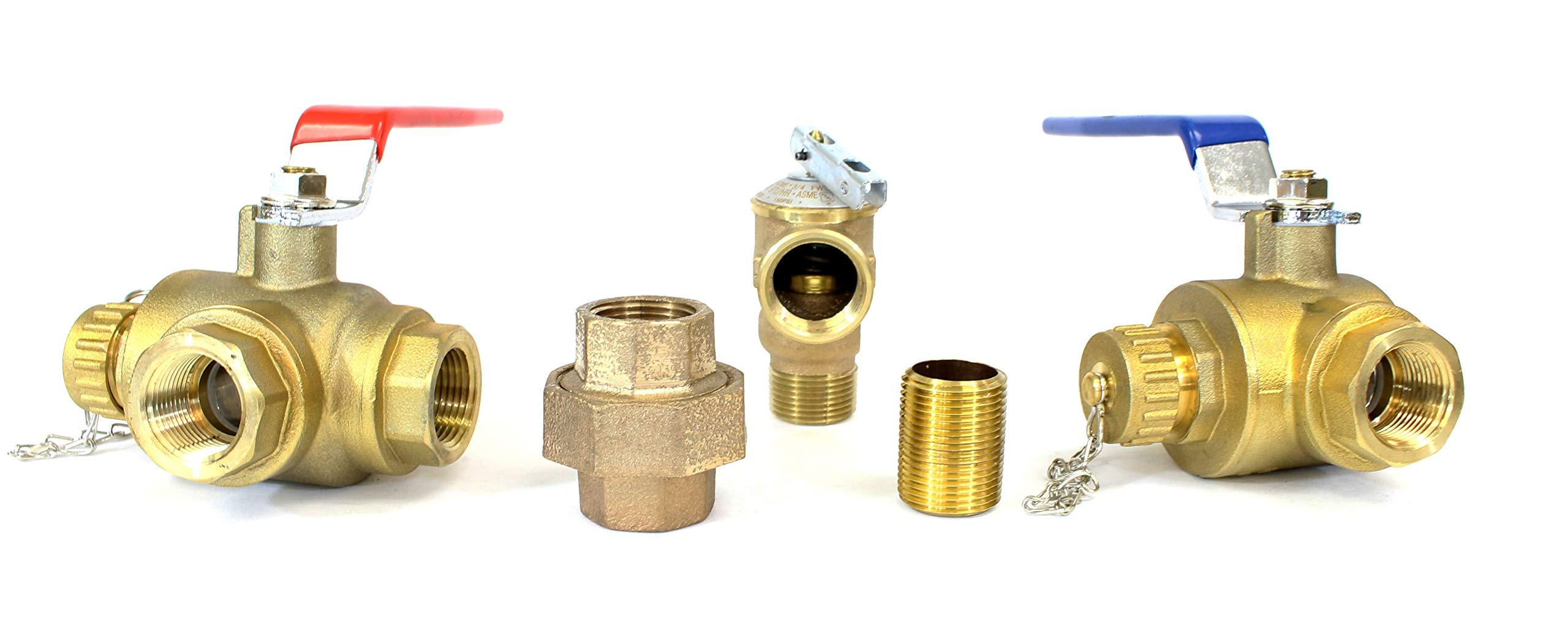 Tankless Water Heater Flush Kit 3/4'' Lead Free Isolation Service Valves