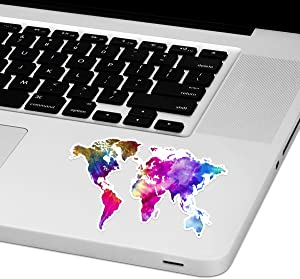 "Tie Dye World Map Laptop Trackpad Sticker 2.5"" Tall x 4"" Wide"