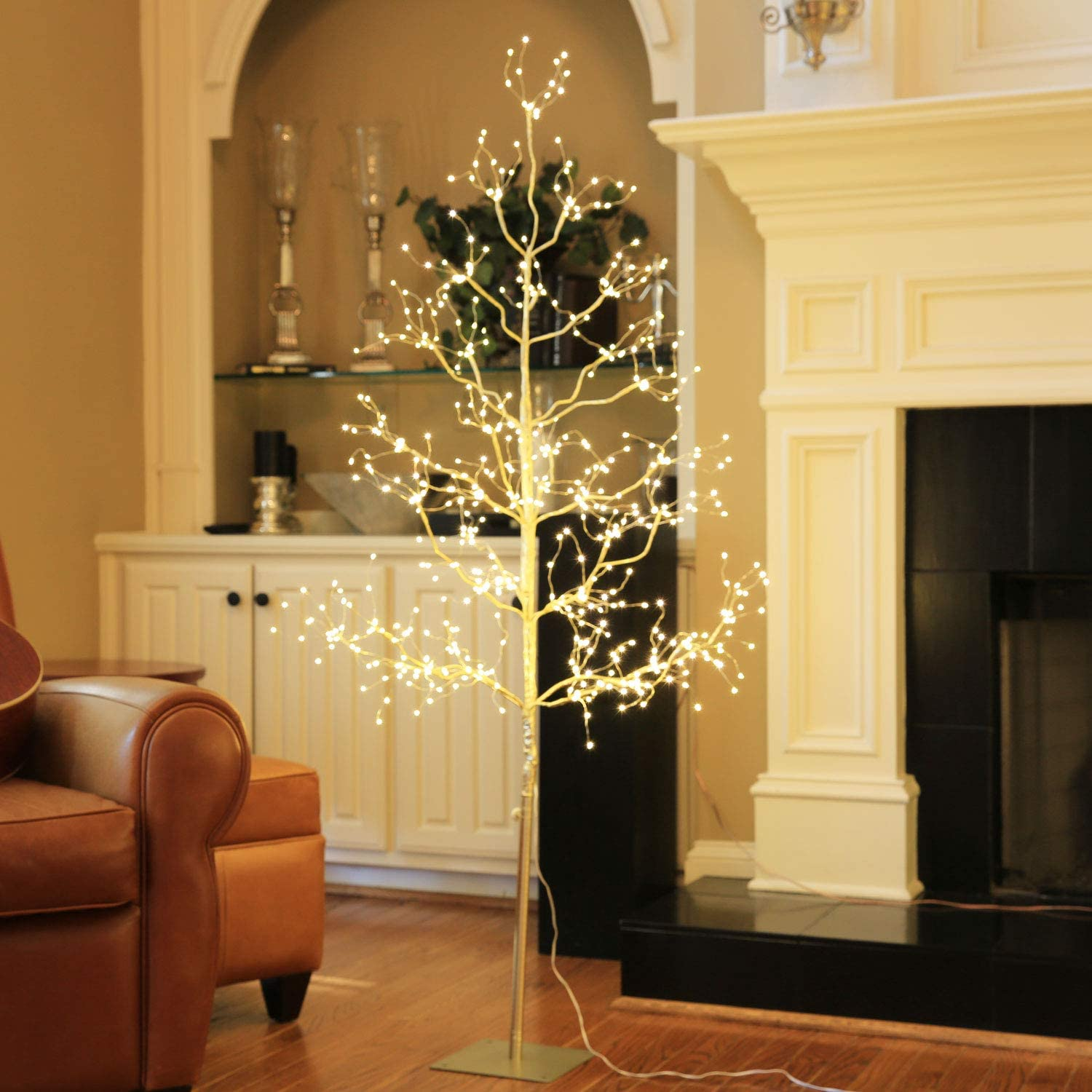 LIGHTSHARE 4 ft. Tree String - 450L Starlit Tree Collection with Warm White LED Angel Lights, Gold, Perfect for Home Décor Holiday Party Wedding