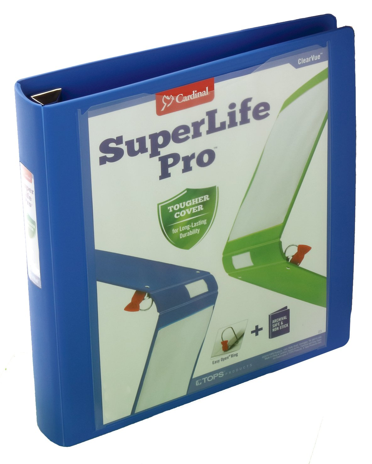 Cardinal SuperLife Pro Easy Open ClearVue Locking Slant-D Ring Binder, 1.5 Inch, Blue (54420)