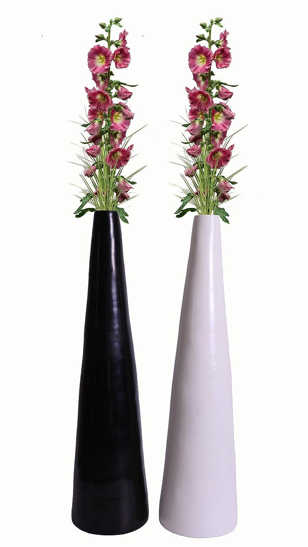 Uniquewise QI003355WB.L.2 30.5インチ 竹 現代的 トール床用花瓶 黒と白 2個セット B07FB1MKJL