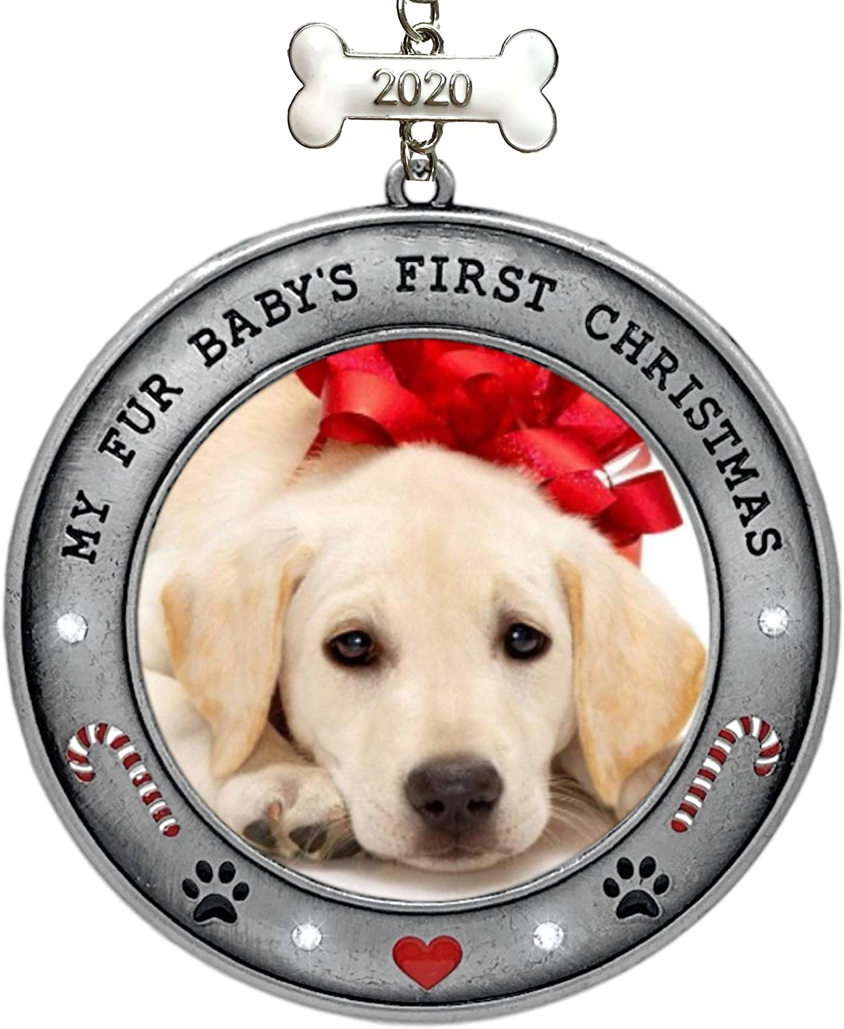 BANBERRY DESIGNS Puppy's First Christmas - 2020 Dated Picture Ornament for Your Fur Baby - Paw Prints, Hearts, Dog Bone and Candy Cane Design - New Puppy 1st Annual Christmas Holiday Hanging Ornament…