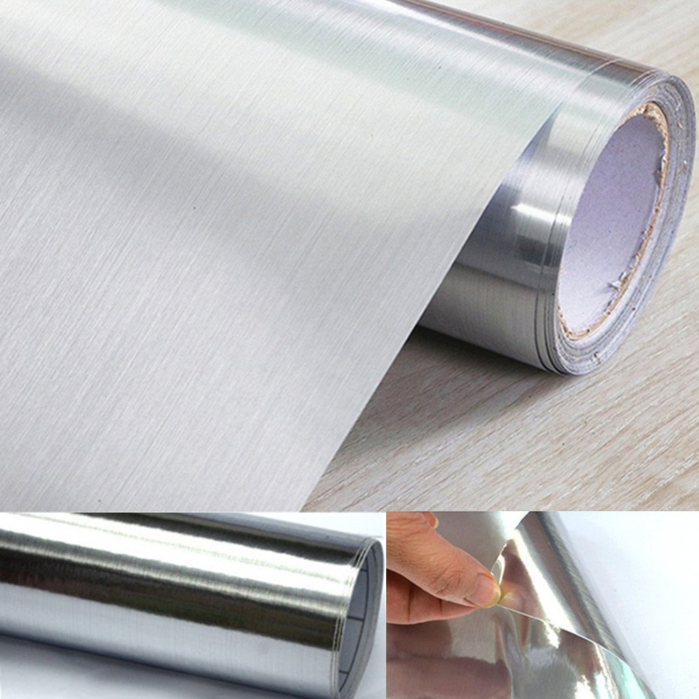 UPREDO Thick Metal Look Stainless Steel Adhesive Metallic Shelf Liner Contact Paper Vinyl Film Backsplash Cover 24in by 79in (Silver Metal)