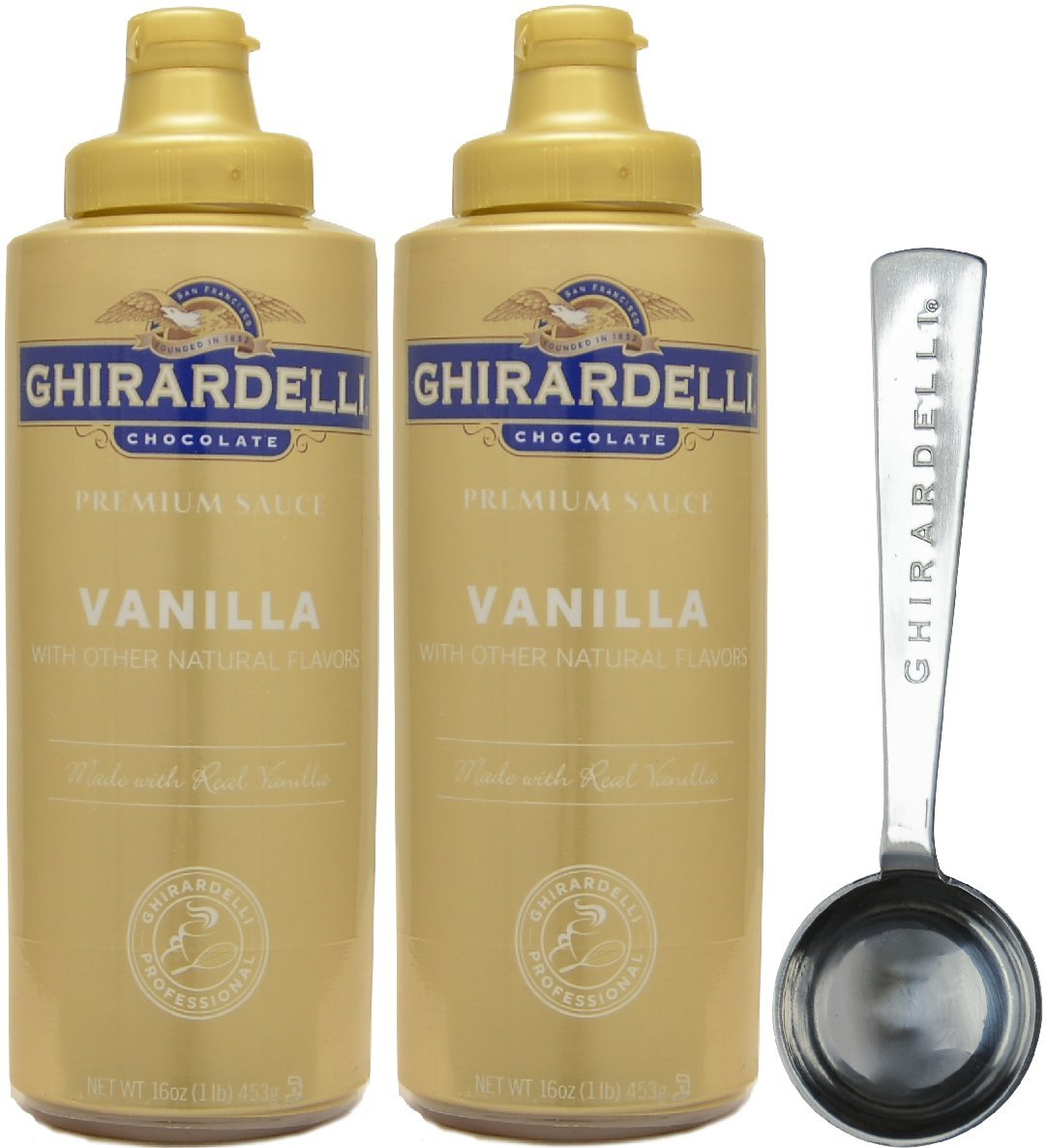 Ghirardelli - Vanilla Sauce, 16 Ounce Squeeze Bottle (Pack 2) - with Limited Edition Measuring Spoon