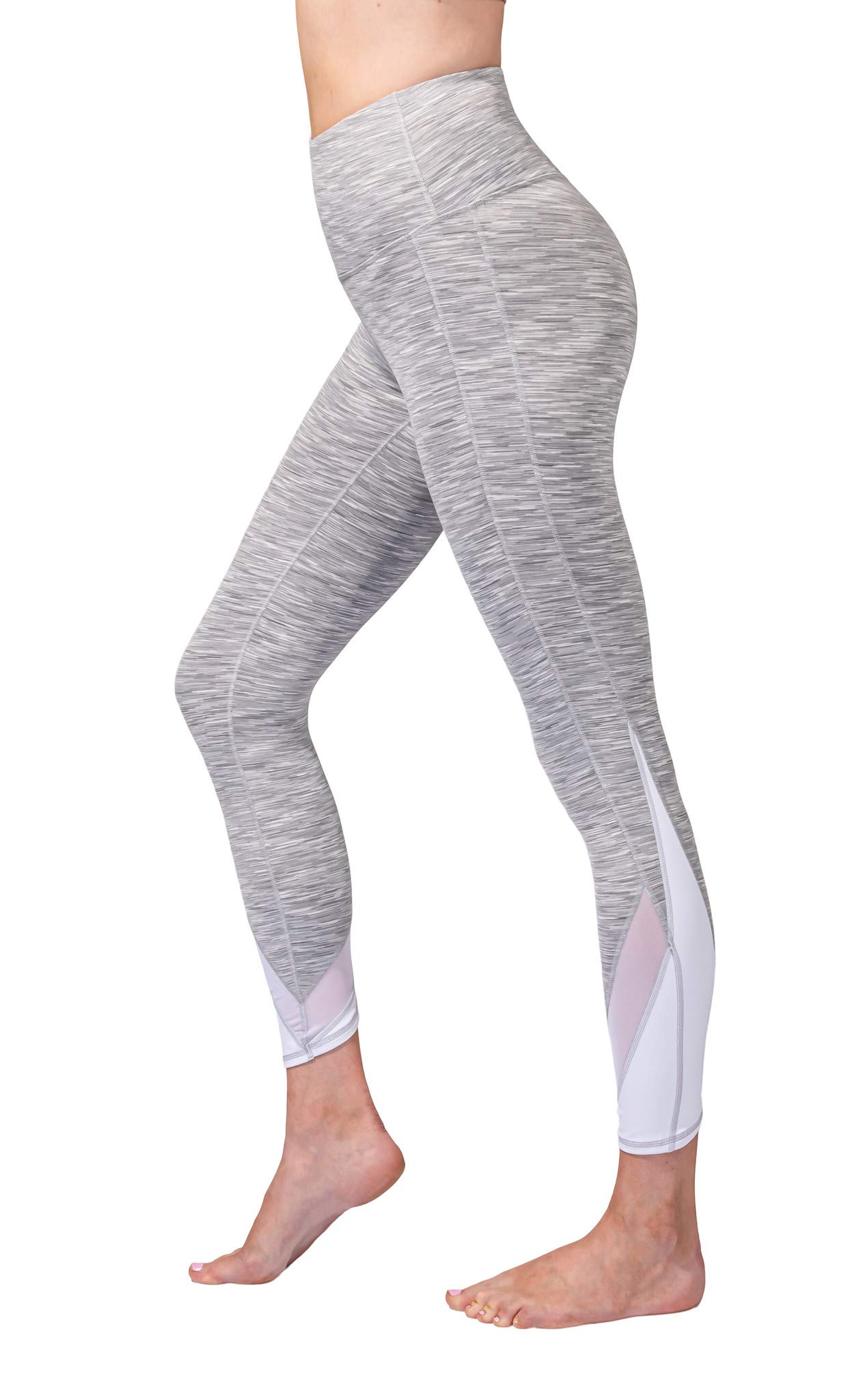 90 Degree By Reflex Women's Power Flex Yoga Pants - Grey Space Dye - Large by 90 Degree By Reflex
