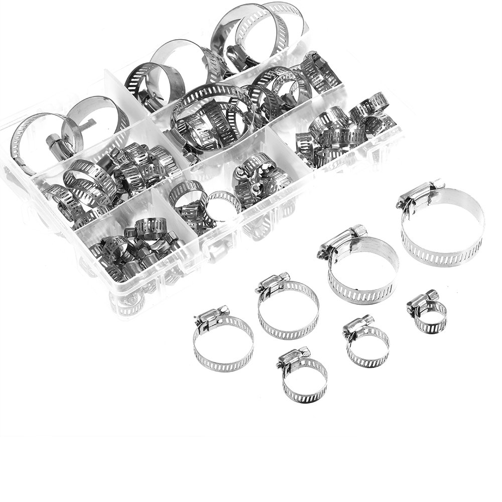 Walmeck 60 Piece Adjustable 8-38mm Range Stainless Steel Fuel Line Pipe Worm Gear Drive Hose Hoop Pipes Clamps Assortment Kit Tube Fasterner Spring Clip