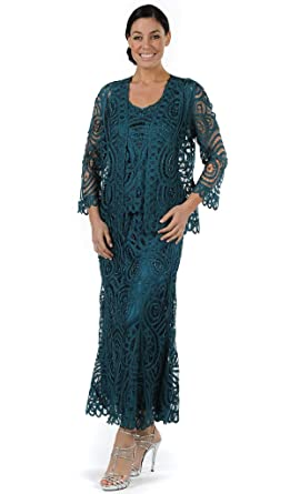 c933b970c2 SOULMATES D7051 Three Piece Paisley Jacket Tank and Skirt Set in Cypress