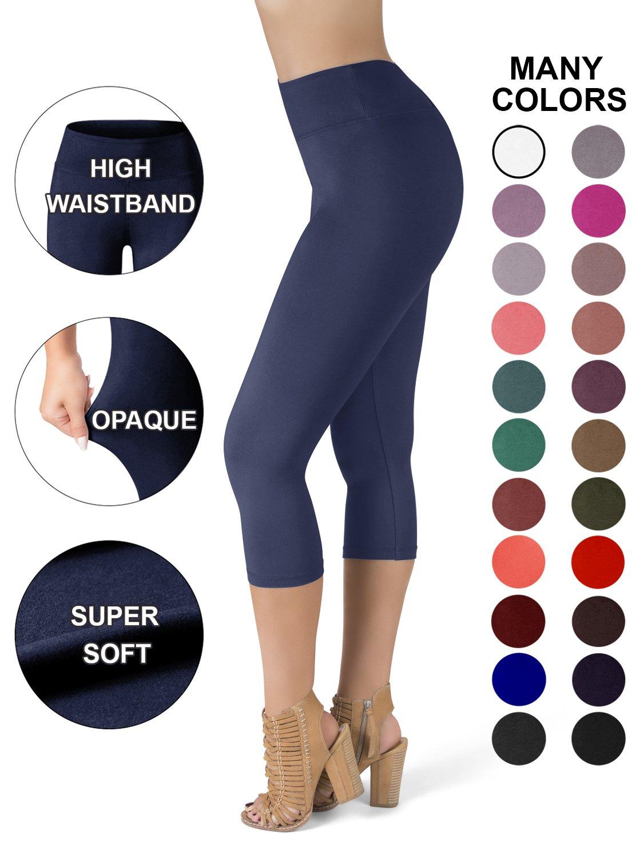 SATINA High Waisted Super Soft Capri Leggings - 20 Colors - Reg & Plus Size (One Size, Navy)