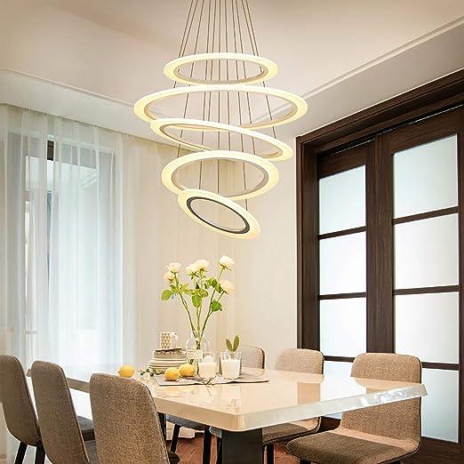 5 Anillos LED Lámpara Colgante Redonda Moderna Regulable con Control Remoto Araña Decoración Iluminación Salón Comedor Escalera Tienda Lámpara Metal Acrílico Luz Blanco 85W: Amazon.es: Iluminación