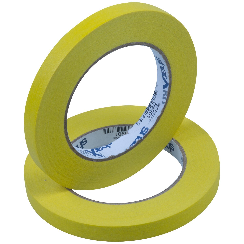 Sharxkin No-Residue Masking Tape, Yellow, ½-Inch x 60-Yards, Pack of 72 Rolls