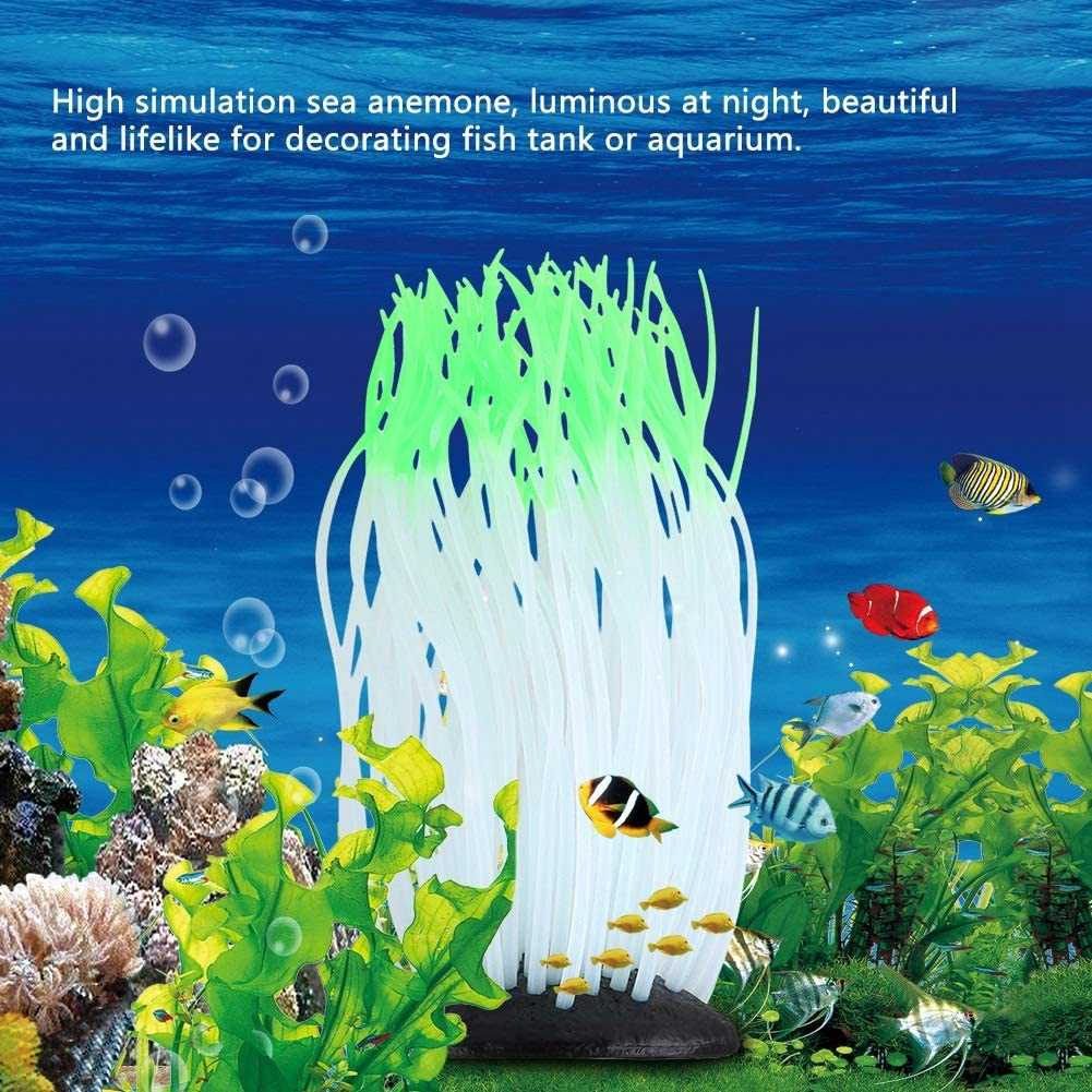 Simulation Silicone Luminous Sea Anemone Ornament Artificial Coral Plant Eco-Friendly Simulation Sea Anemone for Aquarium Fish Tank Decoration with Suction Cup Blue