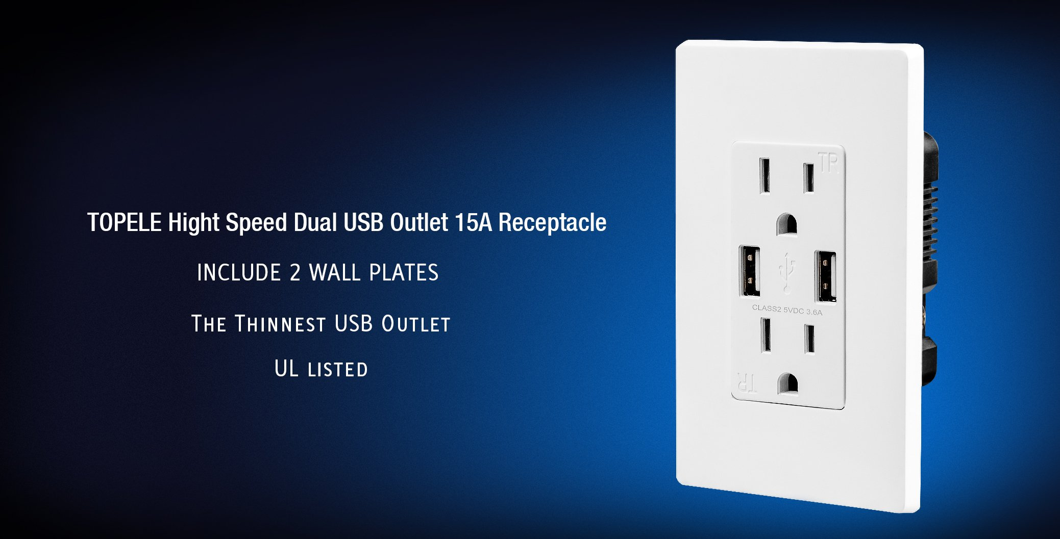 TOPELE Smart Fast Charger USB Outlet, Duplex Dual USB Wall Outlet with 15Amp 110V/120V Tamper-Resistant Electric Receptacle, Childproof USB Outlet Plug, UL Listed, White by TOPELE (Image #2)