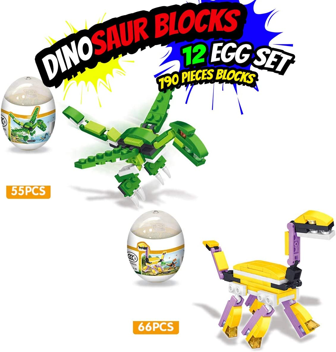 Surprise Egg for Kids Boys and Girls Fun coolitoys Creator Mighty Dinosaurs Building Bricks 12 Pcs Dinosaur Egg Toy Birthday Party Supplies Educational