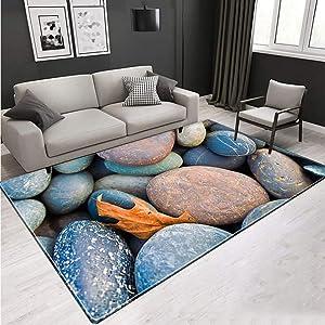 KFEKDT 3D Carpet Stone Soft Flannel Room Large Carpet Children Room Corridor Non-Slip Kitchen Floor Mat Large Floor Carpet A3 80x180cm