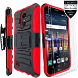 LG K20 Plus Case / LG K20 V Case / LG Harmony Case / LG K20 Case / LG Grace Case With [2-PACK] Screen Protector,IDEA LINE(TM)Armor Shock Proof Dual Layer Combo Holster Kickstand Belt Clip - Red