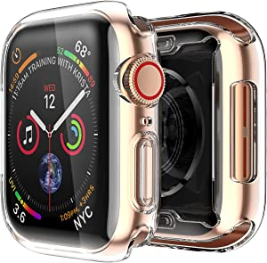 Smiling Case for Apple Watch Series 6/ SE/Series 5 / Series 4 44mm with Built in Screen Protector - iWatch Overall Protective Case TPU HD Clear Ultra-Thin Cover (44mm,Clear)
