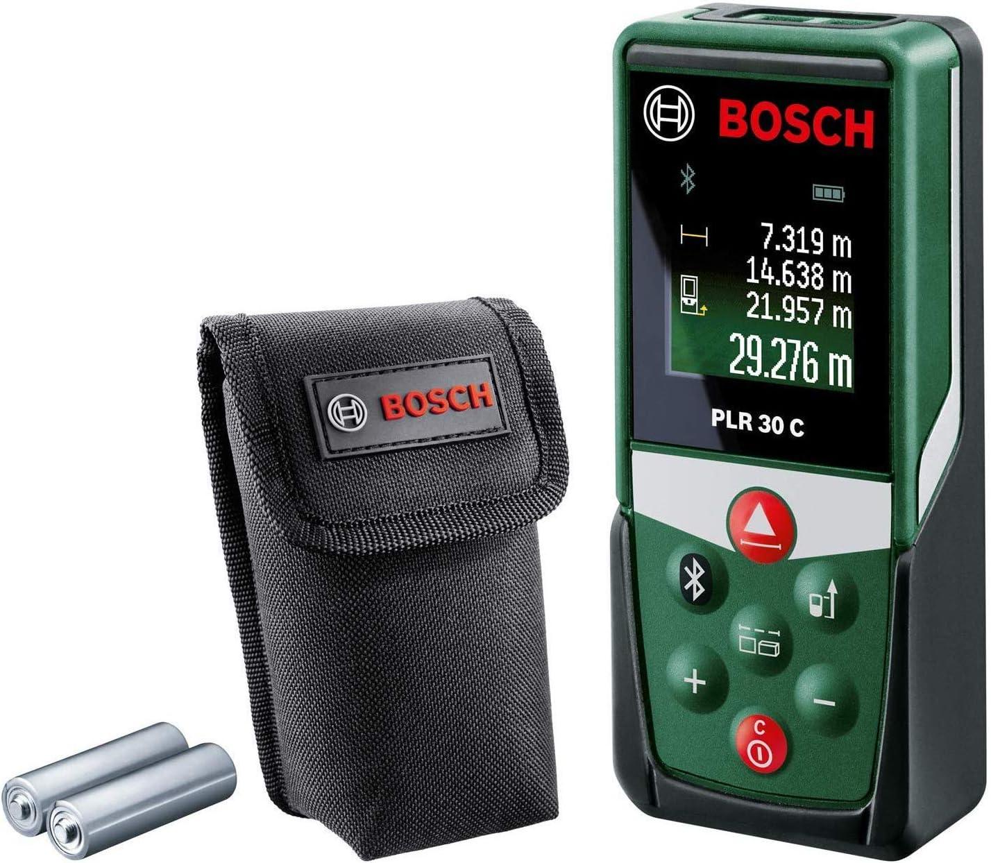 Bosch medidor láser PLR 30 C (con función de aplicación, rango de medición: 0,05–30m, precisión: ± 2mm, en caja)