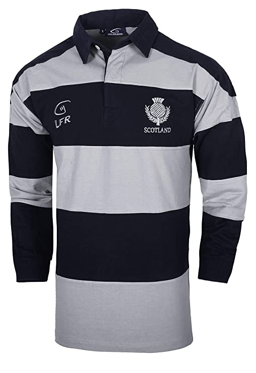 d5288aa9d76 Amazon.com: Scotland Longsleeve Striped Rugby Jersey: Clothing