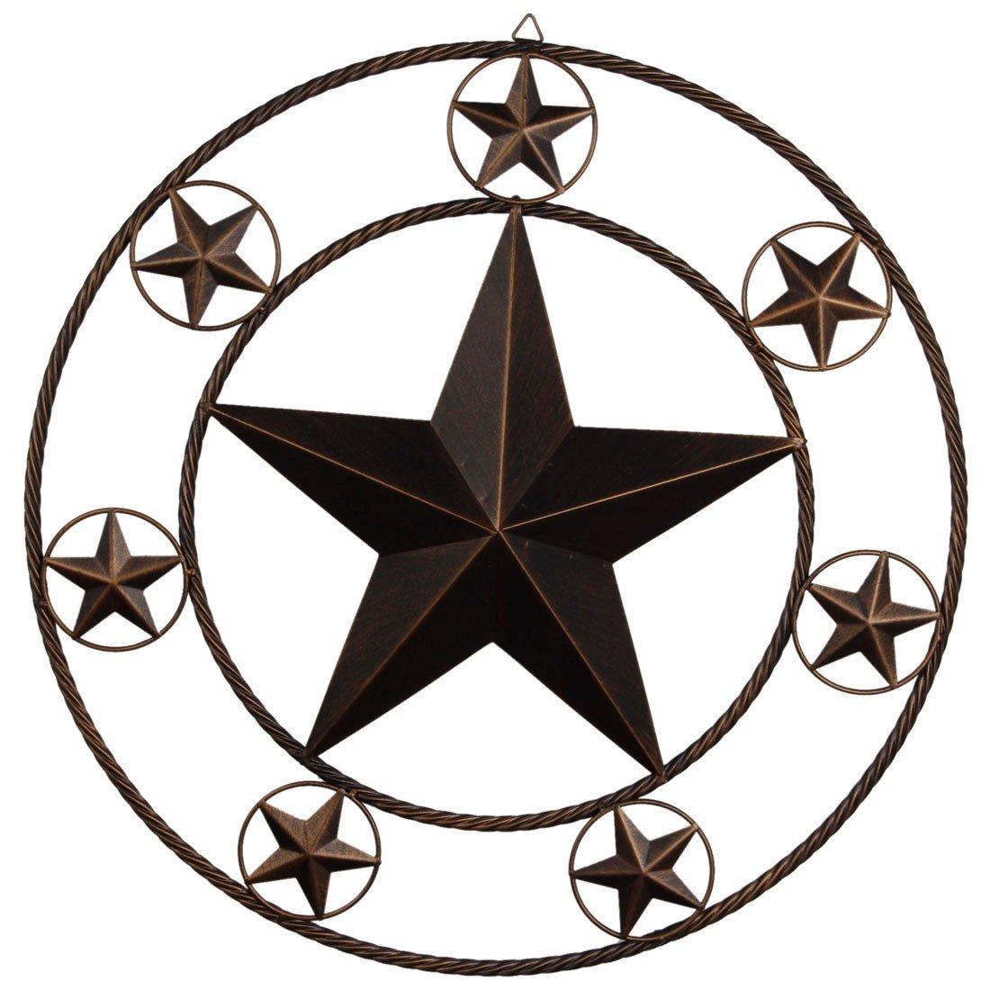Ai.Moichien 26'' Vintage Dark Brown Home Metal Circled Star Wall Decor for Retro Style Living Room/Office/Bar/Restaurant Decoration