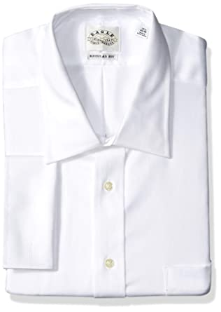 b17d091153f7 Eagle Men's Non Iron Regular Fit Solid French Cuff Dress Shirt, White,  17.5""