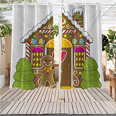 Outdoor Curtains Gazebo Outdoor Window Panels Christmas Decoration Gingerbread Man Cute Gingerbread House Water Proof Fabric (52W X 45L) : Garden & Outdoor