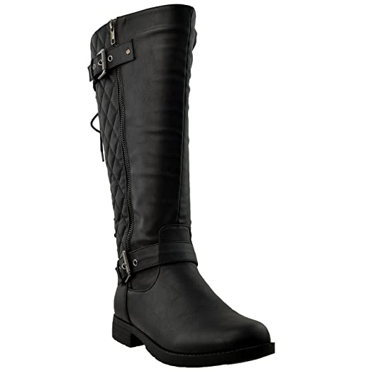 Amazon.com | Womens Knee High Boots Quilted Back Lace Up ... : quilted back boots - Adamdwight.com