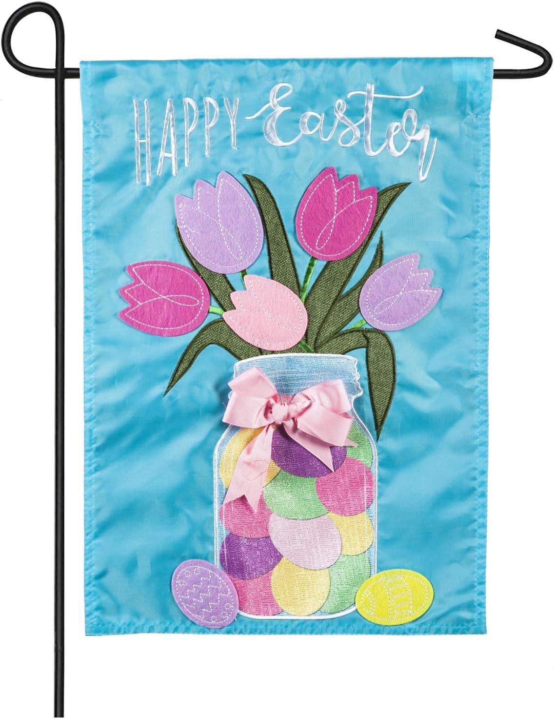 Easter Mason Jar Garden Applique Flag - 13 x 1 x 18 Inches
