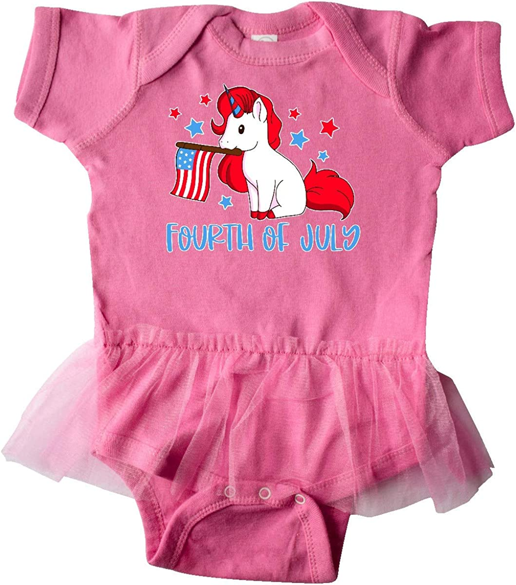 inktastic 4th of July Unicorn Holding American Flag Infant Tutu Bodysuit