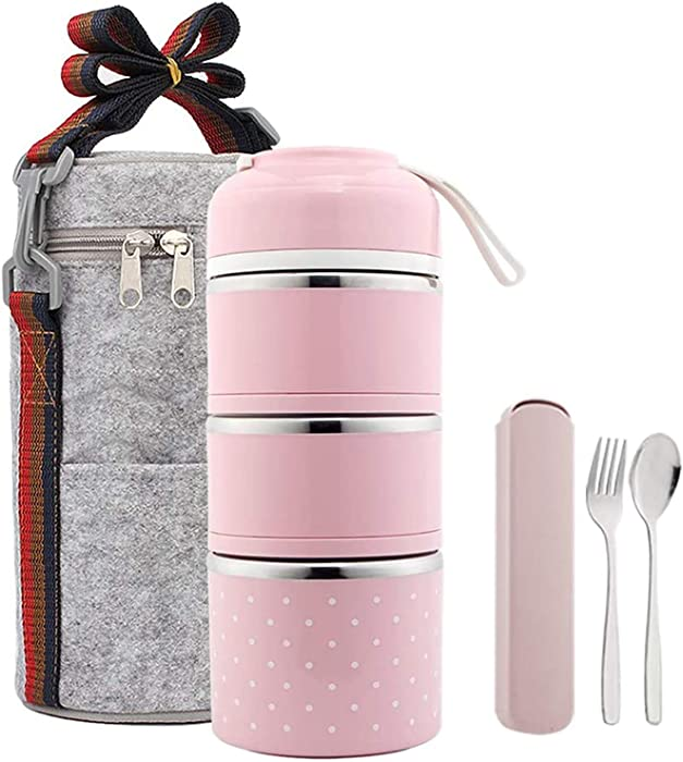 Stackable Lunch Box Stainless Steel Thermo Food Containers with Insulated Bag and Portable utensil,Lunch Containers for Adults,Kids,School,Office(3Tier,Pink)