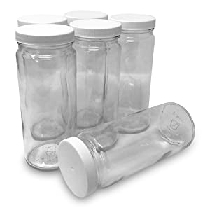 CSBD 16 oz Clear Glass Water Bottle & Juice Bottles With Lids, Wide Mouth, Reusable & Dishwasher Safe, ECO, BPA Free, Made in USA, Bulk, 6 Pack (16 Ounces)