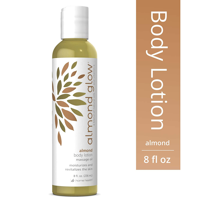 Home Health Almond Glow Almond Body Lotion - 8 fl oz - Skin Moisturizer & Massage Oil, With Peanut, Olive & Lanolin Oils Plus Vitamin E - Non-GMO, Paraben-Free, Vegetarian