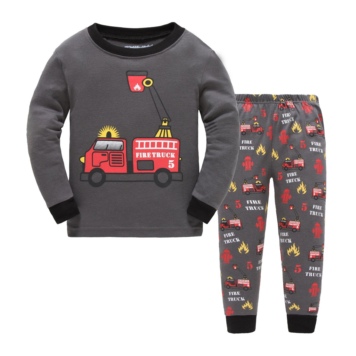 Boys Pajamas Fire Truck Children Pjs Kids Rib Long Sleeves Cotton Clothes Set Czofnjesi