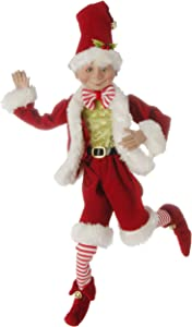 16 inch Posable Elf in Santa Outfit Christmas Decor by Raz Imports