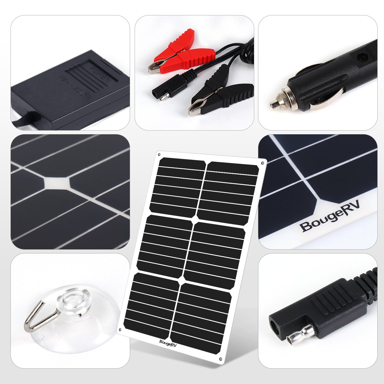 Bougerv 18w 18v 12v Solar Car Battery Charger Sunpower Portable