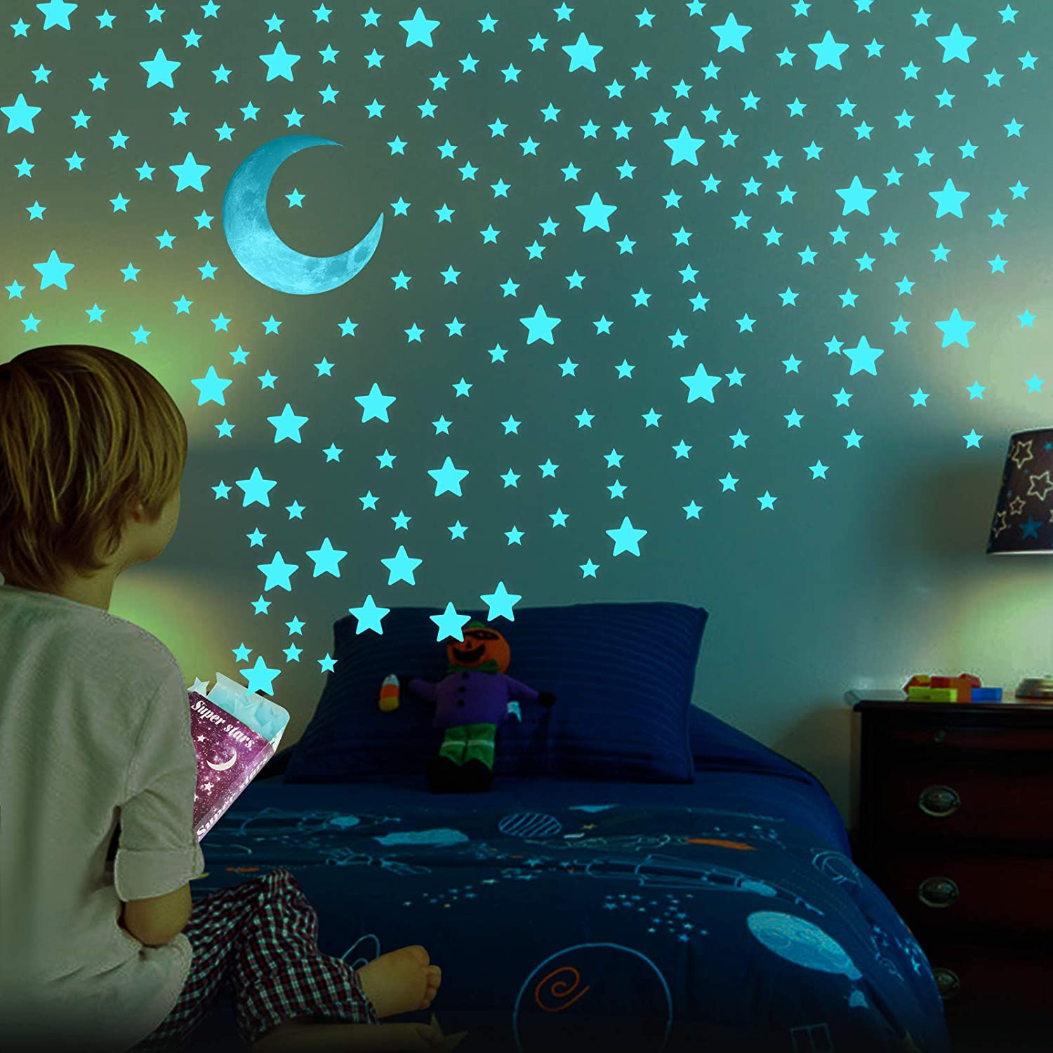 Glow in The Dark Stars for Ceiling - AirXwills 200 Pcs Stars for Ceiling with Ultra Brighter Glow Moons Wall Decor, Kids Room Decor for Girls and Boys, 3D Glow Stars and Moon for Starry Sky. (Blue)