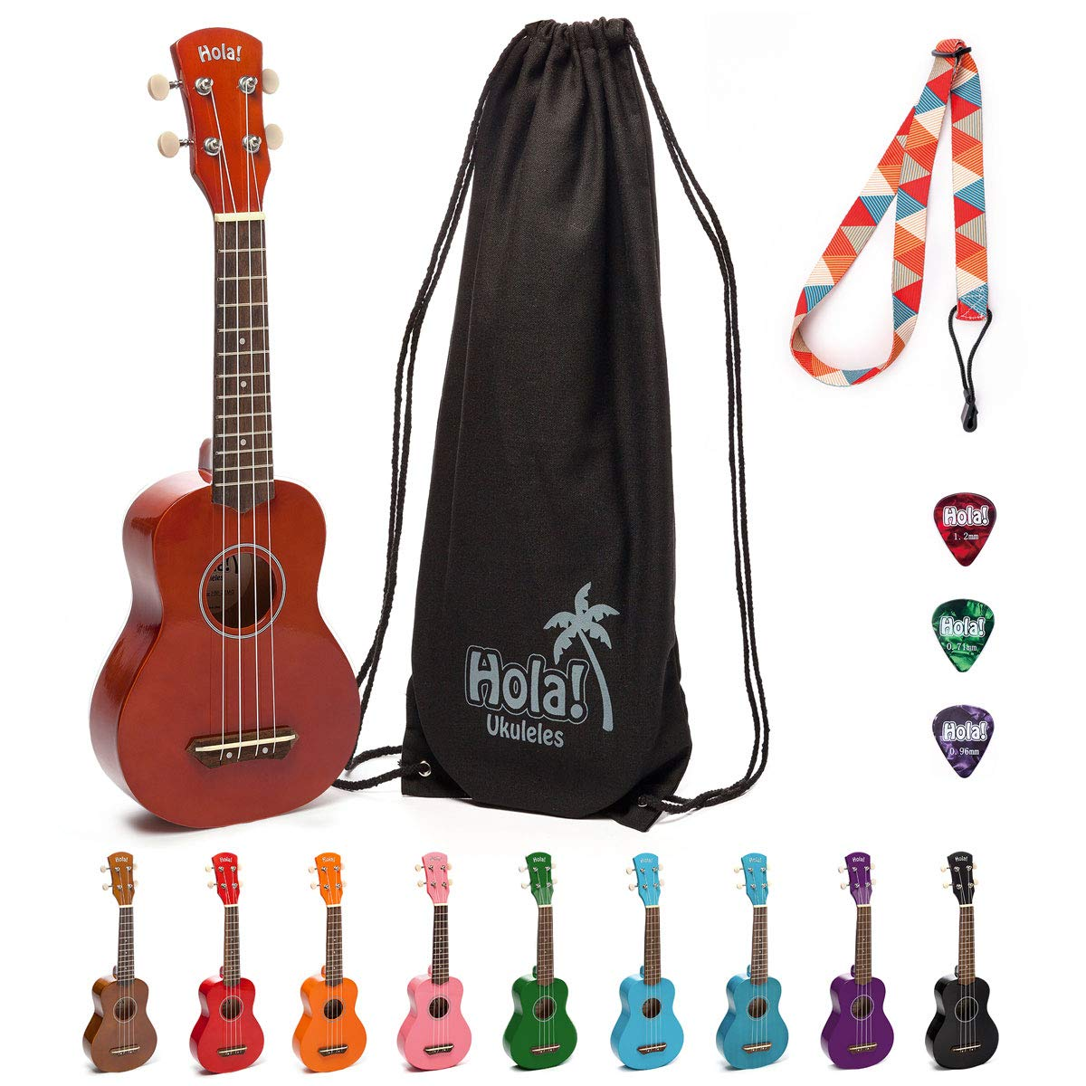 Hola! Music HM-21MG Soprano Ukulele Bundle with Canvas Tote Bag, Strap and Picks, Color Series - Mahogany by Hola! Music
