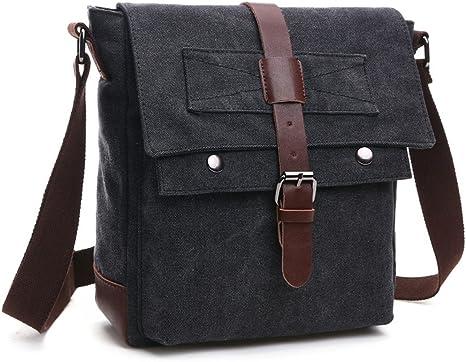 LOSMILE 16 pouces Sac /à bandouli/ère Sac pour homme Sacs Bandouli/ère Sacs port/és /épaule Sac /à /Épaule Sac d/épaule Sac de Messager Sac en toile Vintage Messenger bag. Noir