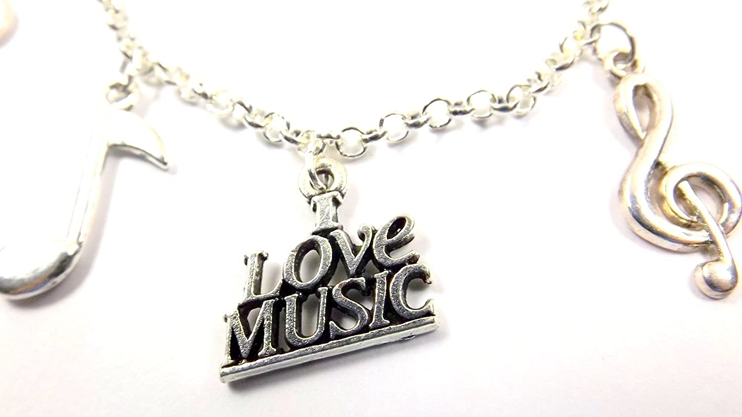 Sizes 8-11 Chain Choice I Love Music Charms Ankle Bracelet Music Lovers Anklet Silver-toned