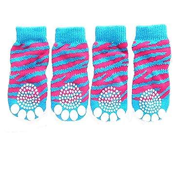 Tiger Grano diseño de huellas de punto antideslizante Walking calcetines de perro (4 unidades) Talla S: Amazon.es: Productos para mascotas