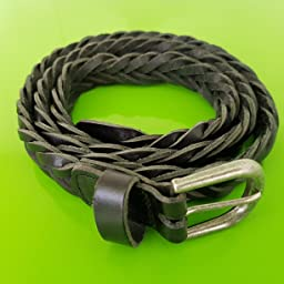 Yudesun Cintur/ón Trenzado Hombre Hombres Cuero a Mano Trenzado Cinturones con Metal Alfiler Hebilla para Jeans Pantalones Ajustable Retro
