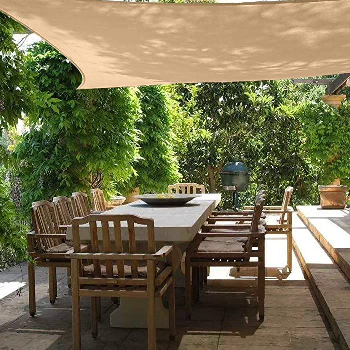 Sun Shade Sail Canopy 6.5' x 10',Rectangle Shade Cloth UV Block Sunshade Fabric - Outdoor Cover Awning Shelter for Pergola Backyard Garden Yard - Sand