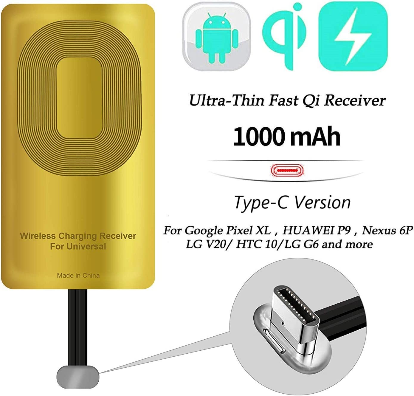 AmyZone Fast QI Receiver Type C for Google Pixel 2/2XL/-LG V20/G5-HTC 10 – Google Nexus 6P-Huawei Mate 9/10/11 Ultra-Slim 5w 1000mAh Wireless Charging Receiver Adapter Compatible All Wireless Chargers