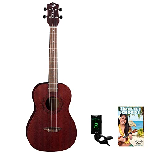 Luna Vintage Mahogany Baritone Ukulele with Quick Start Guide and Tuner, Red Satin